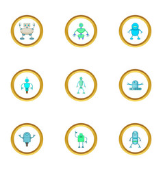 Clever machine icons set cartoon style vector