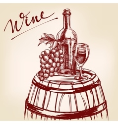 collection wine hand drawn llustration vector image