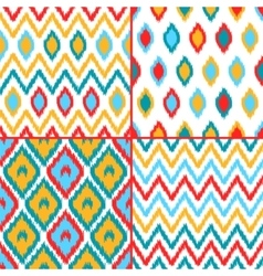 Colorful geometric ikat asian traditional fabric vector
