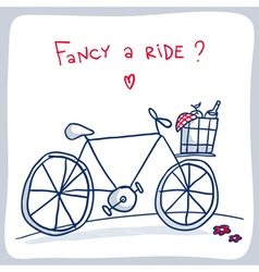 Cute sketch of bicycle with basket valentine card vector image vector image