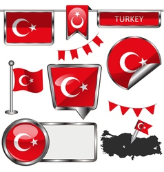 Glossy icons with Turkish flag vector image