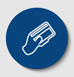 Hand holding a credit card white contour vector