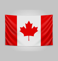 hanging flag of canada canada national flag vector image vector image