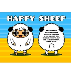 Kawaii card with sheep characters vector image