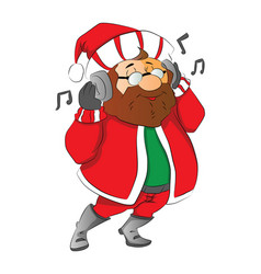 Man wearing santa hat listening to music on vector