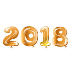metallic gold balloon 2018 happy new year vector image vector image