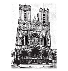 Reims cathedral grand east region vintage vector