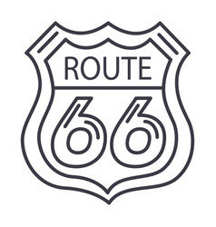route 66 sign line icon sign vector image vector image