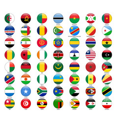 set of flags of all african countries glossy vector image vector image