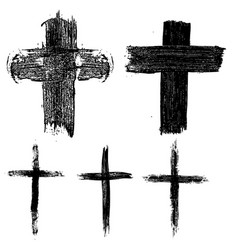 set of hand drawn crosses religious symbols vector image vector image