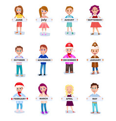 Set of people holding months names in hands vector