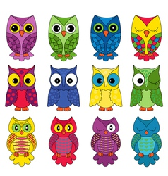 Set of twelve owls vector image vector image