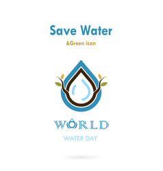 Water drop with small tree icon logo design vector