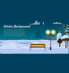 winter background park landscape christmas night vector image vector image