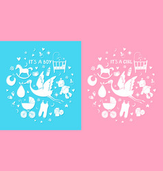 Set of hand drawn elements baby stuff cute icons vector