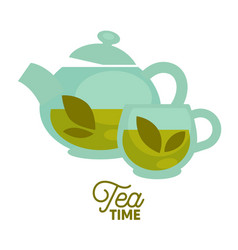 Tea time clear glass teapot and cup with herbal vector