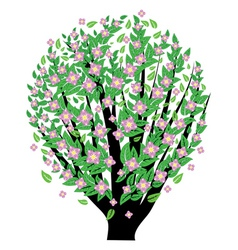 Bush with pink blossom vector image