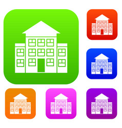 Bank building set collection vector