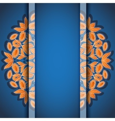 Round floral orange blue invitation card vector image