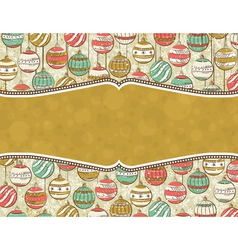 Background with christmas balls and label for mess vector