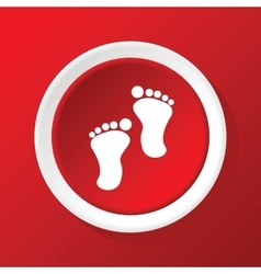 Footprint icon on red vector