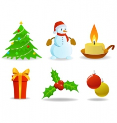 set of vector Christmas images vector image