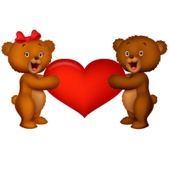 Couple baby bear holding red heart vector
