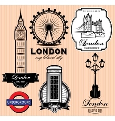 Set of patterns with london attractions vector