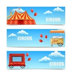 Three horizontal circus banners vector