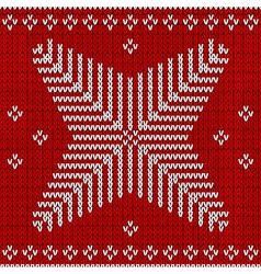 Red knitted background with snowflakes vector