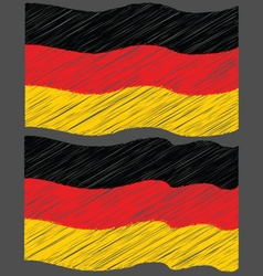 Waving hand draw sketch flag of german vector