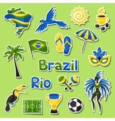 Collection of brazil sticker objects and cultural vector