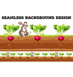 Seamless background with radish and rabbit vector image