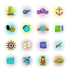 Columbus day set icons vector