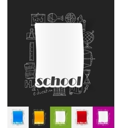 School paper sticker with hand drawn elements vector