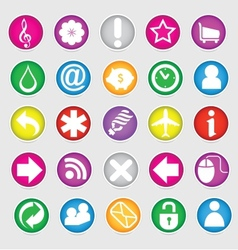Shiny colored web social symbols set vector
