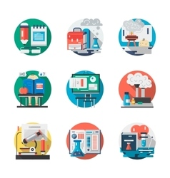 Set of school chemistry detailed flat icons vector