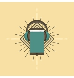 Headphones and smartphone icon music and sound vector