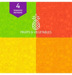 Thin line art fruits vegetables pattern set vector
