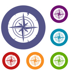 Ancient compass icons set vector
