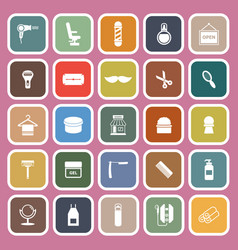 Barber flat icons on pink background vector