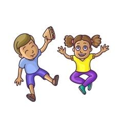 Boy and girl sitting on floor top veiw vector image vector image