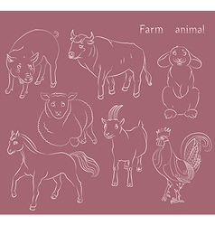 Bull cock goat horse pig rabbit sheep vector