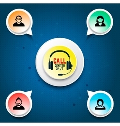 Call center user support Design elements for vector image