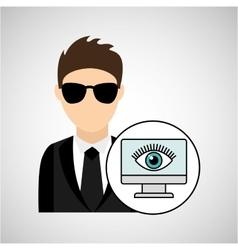 character man protected digital computer vector image