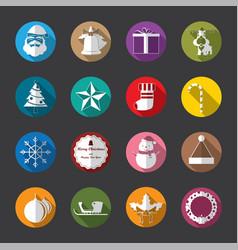 christmas flat icons white vector image