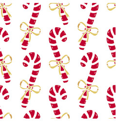 Christmas seamless pattern of candy canes bright vector
