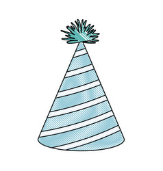 Crayon silhouette of light blue color party hat vector