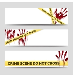 Crime banners with bloody handprints vector image