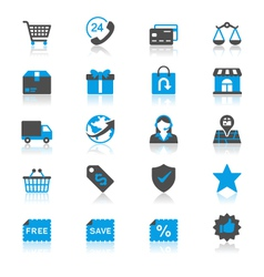E-commerce flat with reflection icons vector